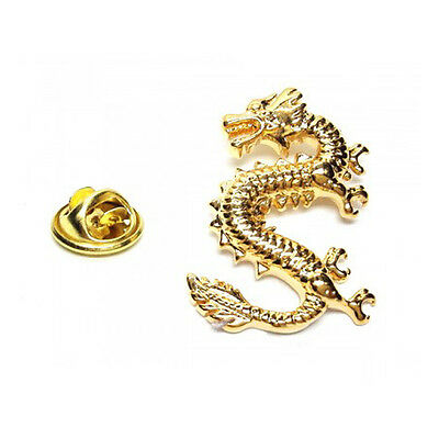 Gold Coloured Lucky dragon Metal Pin Badge chinese dragon luck power AJTP449