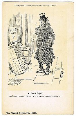 Early Wrench Punch Postcard - A Soliloquy - Cheap Eggs - Politics Theme
