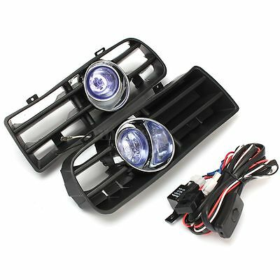 Pair Front Fog LED Light 6000k Lower Grill Grille For 98-04 VW Golf MK4 GTI TDI