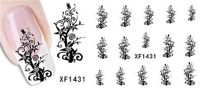Nail Art Stickers Water Transfer Tree Flower 3D Design Manicure Tips Decal Decor