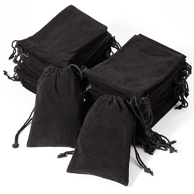 50x Black Velvet Drawstring Jewelry Gift Bags Pouches Box for Wedding Party Lot