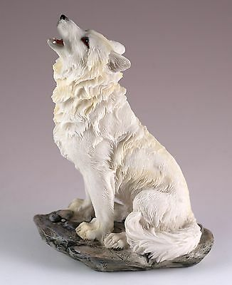 """Wolf Howling Figurine Resin 5.5"""" High - Highly Detailed - New In Box"""