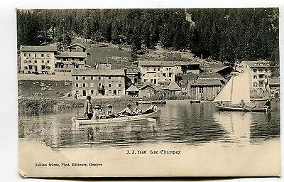 Lac Champex - boating, houses - 1908 used Switzerland postcard