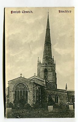 Hinckley Parish Church, Leicestershire - 1907 used postcard