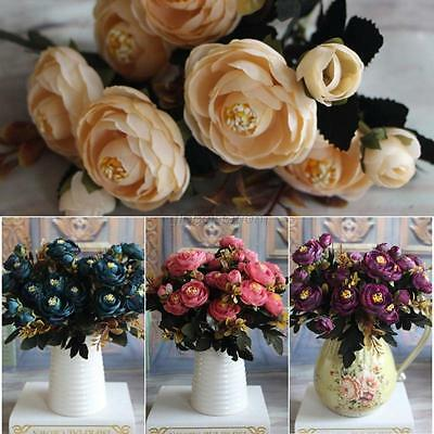 1 Bouquet 9 Heads Artificial Fake Peony Silk Flower Hydrangea Home Wedding Decor