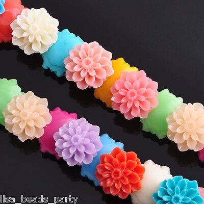 10pcs15mm Flower Carved Coral Jewelry Finding Loose Spacer Beads Chrysanthem Mix