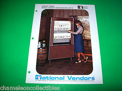 IMPERIAL CROWN MANUAL CIGARETTE 22M-72 By NATIONAL VENDORS ORIG FLYER BROCHURE