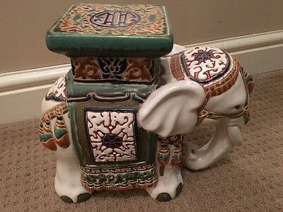 Large Elephant Figure Plant Stand Door Stop Collectable Pottery Ornament