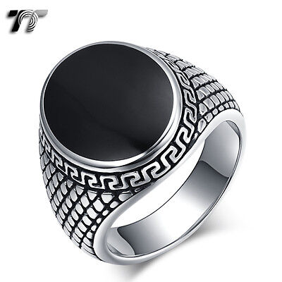 High Quality TT 316L Stainless Steel Greek Key Band Ring (RZ170) NEW
