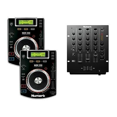 2 x Numark NDX200 CDJ Players with USB and CD M4 DJ Mixer and Headphones