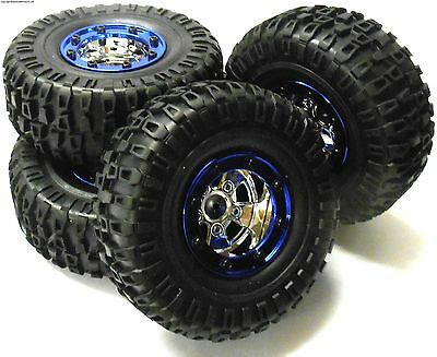 BS703-004 1/10 Scale RC Rock Crawler Off Road Wheels and Tyres 4 Blue Plastic
