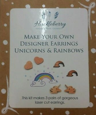 Huckleberry Make your own designer earrings unicorn and rainbows