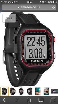 Garmin Forerunner 25 GPS Running Watch with Heart Rate Monitor - Black And Red