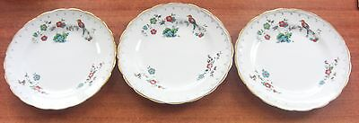 "VINTAGE TUSCAN CHINA BIRD OF PARADISE 6.25"" SIDE PLATES x 3"