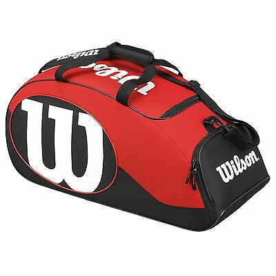 Wilson Match II Duffle Racket Sports Travel Travelling Luggage Bag - Black/Red