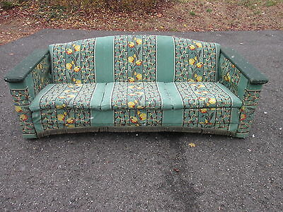 VINTAGE Mid Century WICKER & BARKCLOTH Porch Glider COUCH or SOFA 1940s/50s