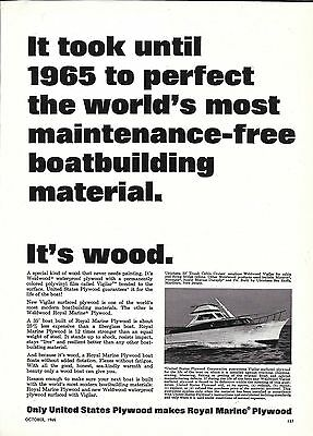 1965 United States Plywood Ad- Photo of Ulrichsen 33' Yacht