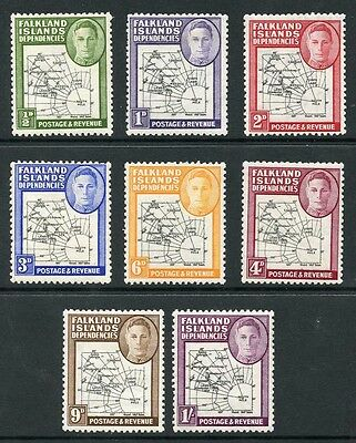 Falkland Islands SG G1/8 1946-49 Map (Thick) Set of 8 Mixture M/M and U/M