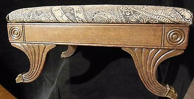 Antique Brass Paw Foot Foot Stool Paisley Upholstery