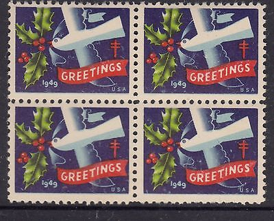 UNITED STATES  1949  Christmas Seals In Block of 4 MUH