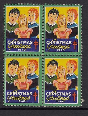 UNITED STATES  1940  Christmas Seals In Block of 4 MUH