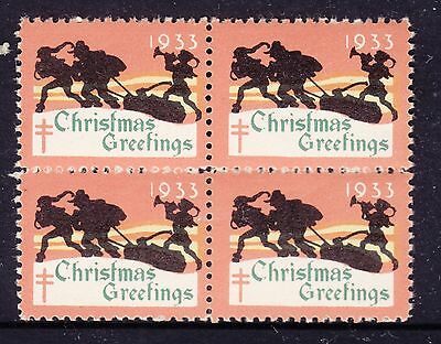 UNITED STATES  1933  Christmas Seals In Block of 4 MUH