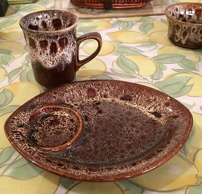 Fosters Pottery Cornwall Cup & Saucer Honeycomb  Breakfast Set
