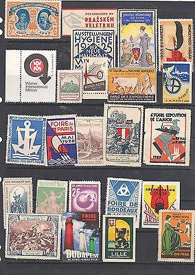 Poster Stamps, A Collection Of 24 Various Countries Exhibition Labels