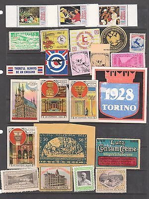 Poster Stamps, A Collection Of 24 Various Countries  Labels