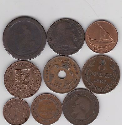 Nine Different World Copper Coins In Fine Or Better Condition