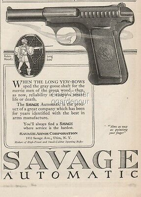 1918 Savage Arms Corp Automatic Pistol Utica New York Robin Hood Long Yew Bow Ad