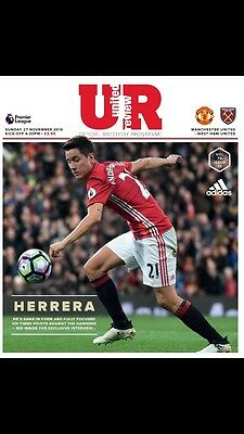 Manchester United V West Ham United Official Matchday Programme 27/11/16