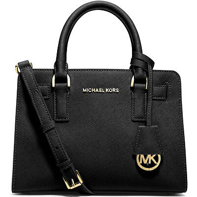 New Genuine Michael Kors Dillon Top Zip East West Leather Sachel - Black