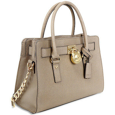 New Genuine Michael Kors Hamilton Saffiano East West Satchel Handbag -Dark Dune
