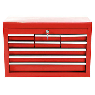 Bentley 24'' 9 Drawer Metal Tool Box Chest Office Cabinet Storage - Red
