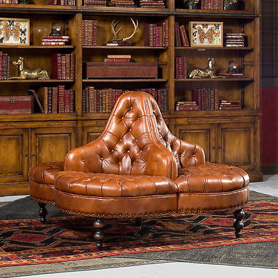 Elegant Library Lobby Tufted Brown Italian Leather Round Sofa, 39''H.