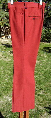 Flared Maroon LEVI'S Panatela Polyester Pants 34x31 Vintage 1970s Disco Trousers