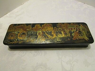 "ANTIQUE JAPANESE BLACK & RED LACQUERED BOX Meiji era 1868-1912 Paper Mache 12"" W"