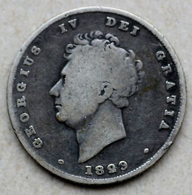 1829 Great Britain,  Shilling, George IV, 0.925 Silver, KM 694