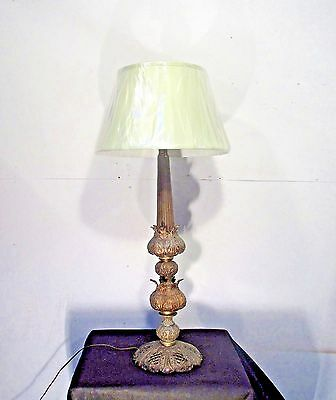 Antique Vintage Table Lamp Light Large Ornate Shade Green