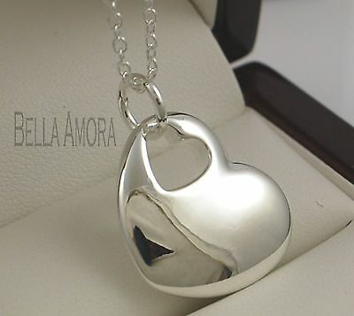 """Pretty 925 Stamped Silver Solid Heart Pendant with 18"""" Chain Necklace - New -93"""