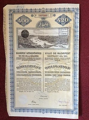 Budapest 4% 1911 (Nice Picture ) With Couponds  Invalid Share Certificate