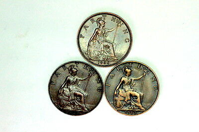 3X George V Farthings,1/4 Pennies Coins,a44,1913,1924,1936,all Collectable