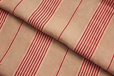 Striped ticking French fabric TIMEWORN rustic Primitive material red stripes
