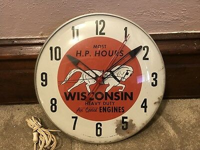 "1950's Wisconsin Engines Heavy Duty Air Cooled Engines 12"" Bubble Clock Runs"