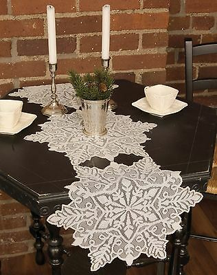 Christmas, Winter Silver Snowflake Table Runner by Heritage Lace, Pick of 4 Szs.