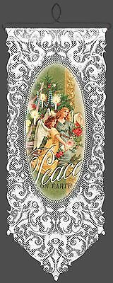 Victorian Angels Peace on Earth Wall Hanging by Heritage Lace, 12 inch x 30 inch