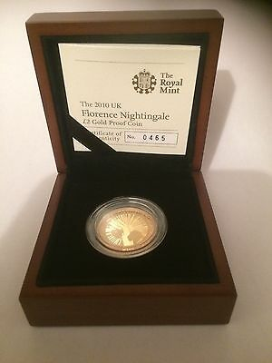 2010 Florence Nightingale 100th Anniversary £2 Two Pound Gold Proof Coin Box Coa