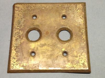 Antique Vintage Brass Double Push Button Light Switch Plate Part
