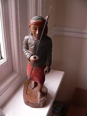 Interesting Antique Early  Burmese Carved Painted Wood Figure